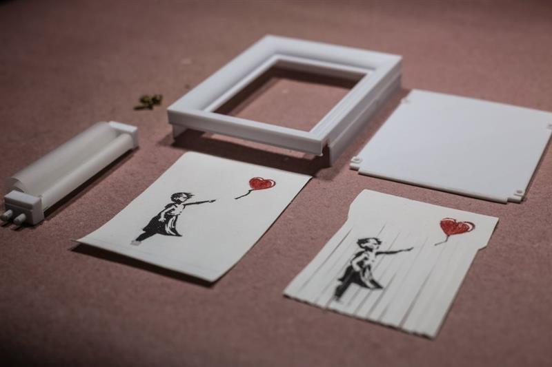 3D Baskı Kendi Banksy Art-Shredder Çerçeve
